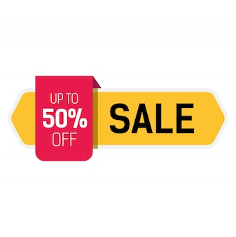 Big sale, up to fifty percent off lettering on yellow ribbon.