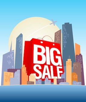 Big sale vector banner design template with shopping city and red paper bag