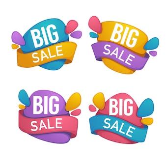 큰 판매, 밝은 할인 거품 배너의 벡터 컬렉션