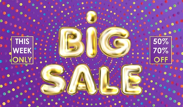 Big sale violet banner with golden balloon lettering