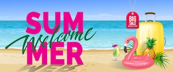 Big sale, welcome summer banner. Cold drink, pineapple, toy flamingo, yellow travel case