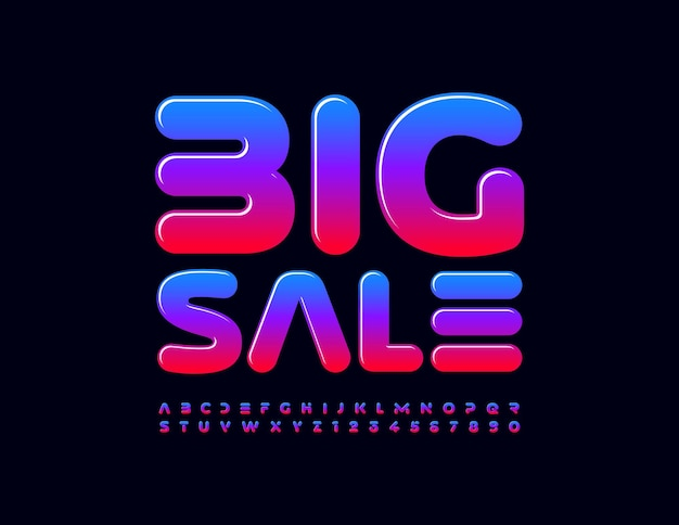 Big sale with color gradient alphabet letters and numbers set creative glossy