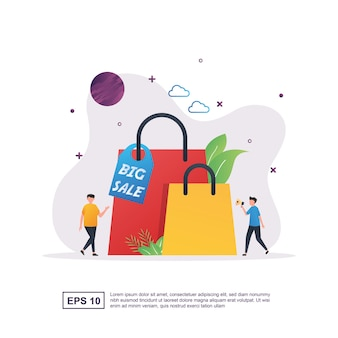 Big sale with a large shopping bag.