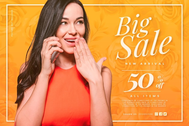 Big sale with shocked woman