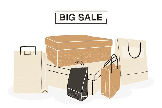 Большая распродажа с хозяйственными сумками и коробками с дизайном коммерции и рыночной тематики векторная иллюстрация