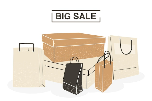 Big sale with shopping bags and boxes design of commerce and market theme vector illustration