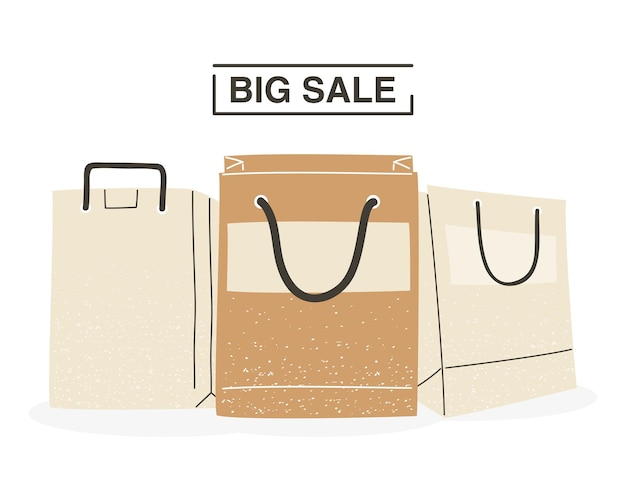 Big sale with shopping bags design of commerce and market theme vector illustration