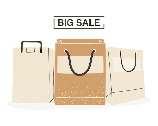 Большая распродажа с дизайном хозяйственных сумок коммерции и рыночной темы векторная иллюстрация