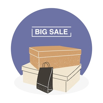 Big sale with shopping boxes and bag design of commerce and market theme vector illustration