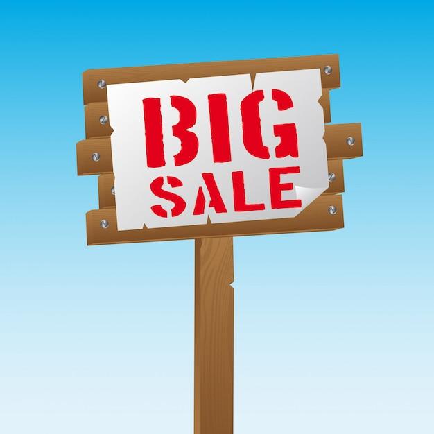 Big sale over wooden sign over sky