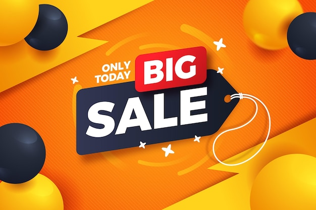 Big sales background with realistic balloons