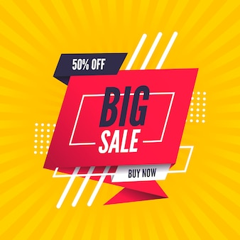 Big sales banner in origami style