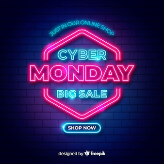 Big sales for cyber monday in neon design lights