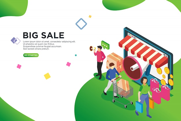 Big sales isometric design concept