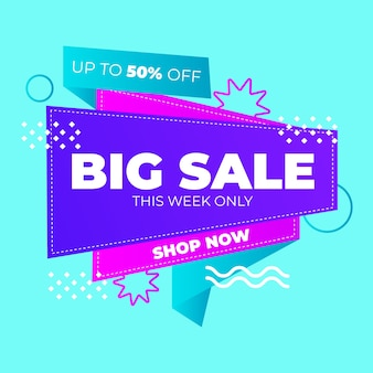 Big sales only one week banner in origami style