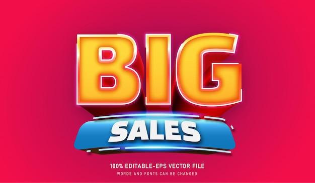 큰 판매 텍스트 효과 편집 가능한 글꼴 골드 핑크 및 블루