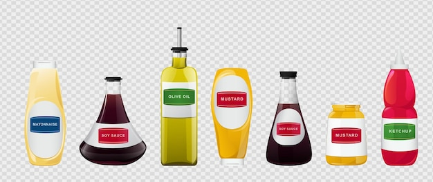 Big sauce in bottles set. soy, olive oil, mustard, ketchup and mayonnaise sauces. condiment elements for food design.
