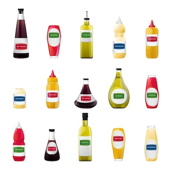 Big sauce in bottles set soy olive oil mustard ketchup and mayonnaise sauces