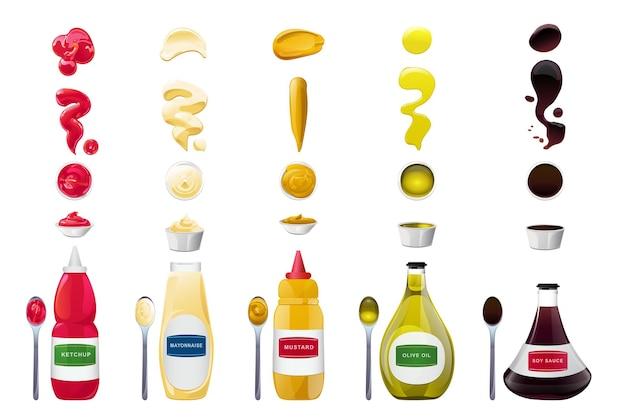 ボトルとスプラッシュセットのビッグソース。大豆、オリーブオイル、マスタード、ケチャップ、マヨネーズのソース。食品デザインのための調味料要素。