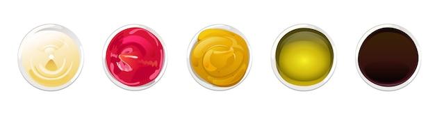 Набор «большой соус в тарелках» соевое оливковое масло горчичный кетчуп и майонезные соусы