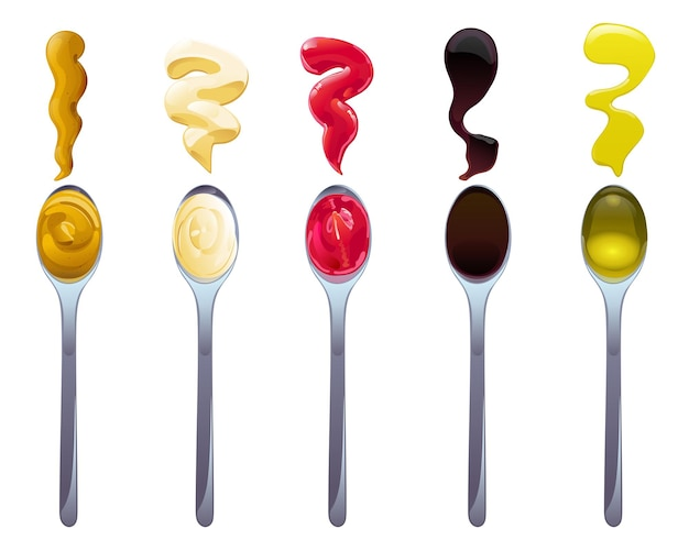 Big sauce in spoons set. soy, olive oil, mustard, ketchup and mayonnaise sauces. condiment elements for food design.