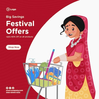 Big savings festival offers banner design template in cartoon style
