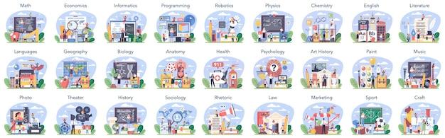 Большой школьный предмет или учебный класс. студент изучает общественные и естественные науки. современная система школьного образования. изолированные плоские векторные иллюстрации