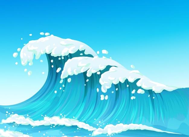 밝아진 하얀 거품이있는 큰 바다 또는 바다 물결