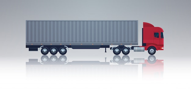 Big semi truck trailer vehicle template side view cargo shipping and delivery concept