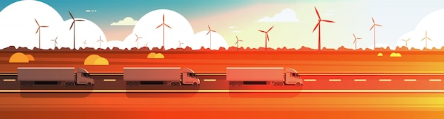 Big semi truck trailers driving road over nature sunset landscape horizontal banner
