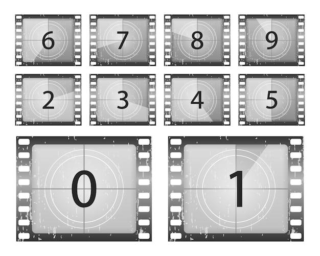 Биг установил классический кадр обратного отсчета фильма под номером один, два, три, четыре, пять, шесть, семь, восемь и девять. счетчик таймера старого фильма. обратный отсчет фильмов