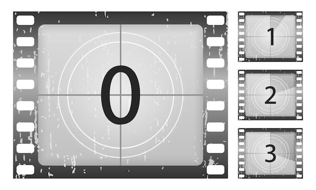 Большой набор классических кадров обратного отсчета фильма на цифры