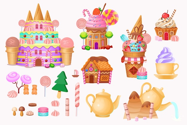 Big set. andy city with cake castle, houses cakes, ice creams, sweets, lollipops and cookies.