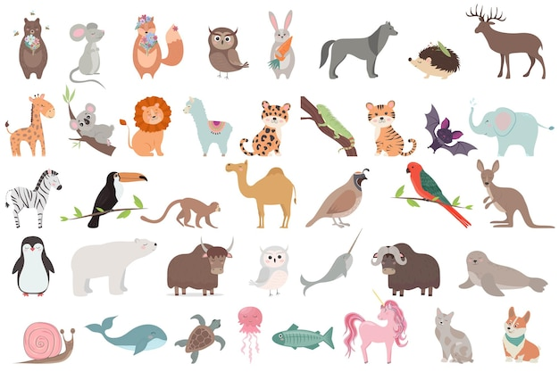 Big set of animals isolated collection