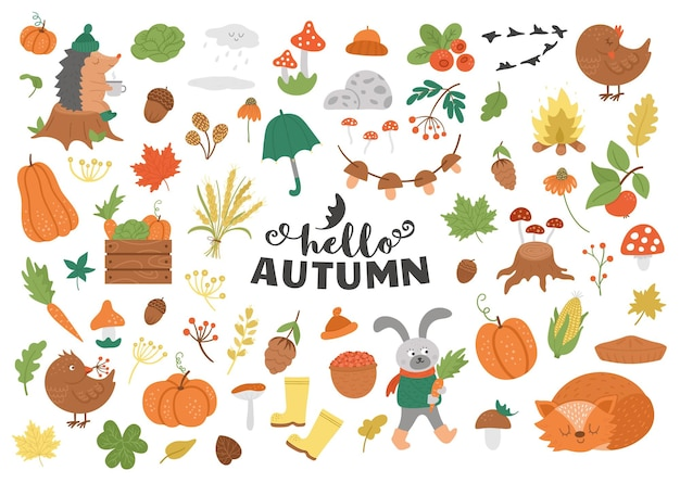 Big set of autumn clipart. cute fall season icons pack.  funny forest animals
