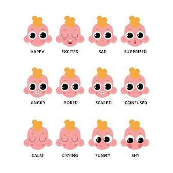 Big set of baby emotions.