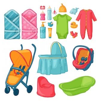 Большой набор детских вещей. множество вещей для детства. изолированные иконки детских товаров для новорожденных. одежда, игрушки, аксессуары для гигиены, питание для младенцев.