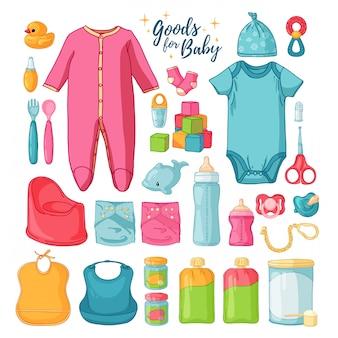 큰 세트 아기 물건. 어린 시절을위한 것들. 신생아를위한 아기 용품의 고립 된 아이콘. 의류, 장난감, 위생 용품, 유아용 식품.