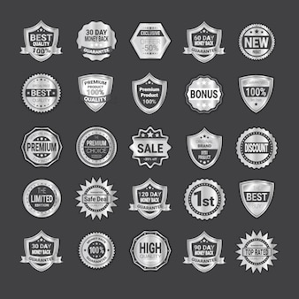Big set of badge shopping or high quality product shields emblem collection