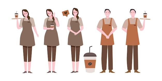 Big set of barista character with various activities