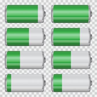 Big set of battery charge indicators on a transparent