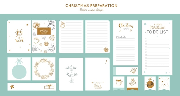 Big  set of before merry christmas and new year preparation planners to do list notebook stickers shopping list etc