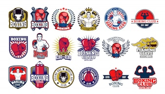 Big set boxing badges, stickers isolated on white.