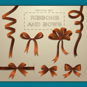 Big set of brown ribbons and bows for gift boxes flat isolated