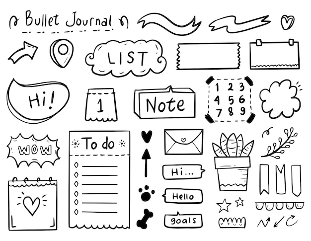 Big set bullet journal notes drawing doodle collection