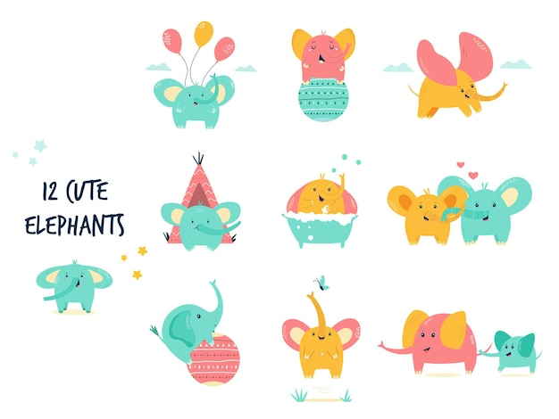 Big set, bundle of cute little elephants in different poses. vector illustration