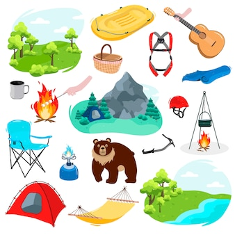 A big set camping. forest, mountains, river,cup,fire,marshmallow, burner,chair, tent, bear, inflatable boat, guitar, mat, picnic basket, pot on a tripod, climbing equipment.  in cartoon style.