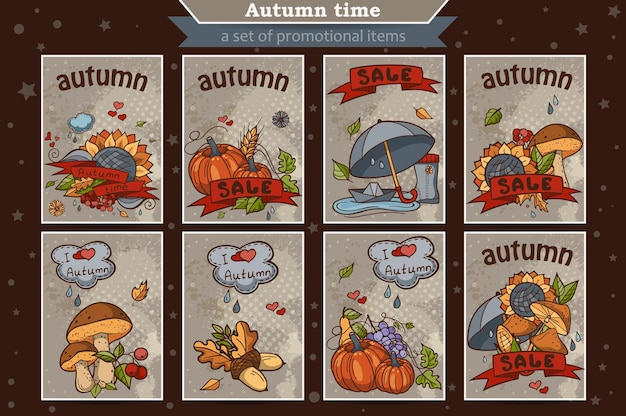 Big set of cards from the vertical colored doodles on theme of autumn
