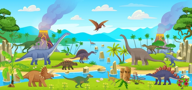Big set of cartoon dinosaurs. pterodactylus, ankylosaurus, stegosaurus, pachycephalosaurus, spinosaurus, tyrannosaurus, tarbosaurus, triceratops, gallimimus, amphicoelias, diplodocus, plateosaurus