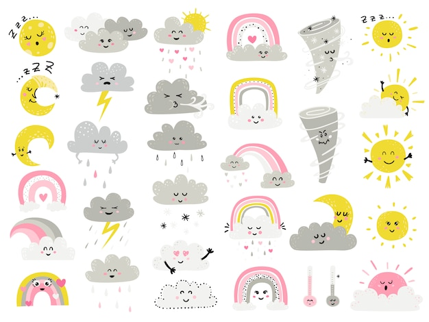 Big set of cartoon weathers items for kids